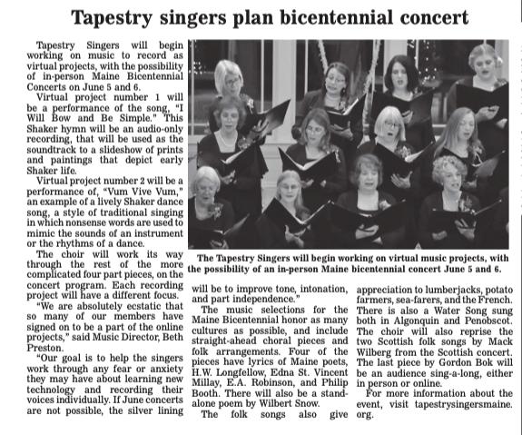 Newspaper clipping: Tapestry singers plan bicentennial concert